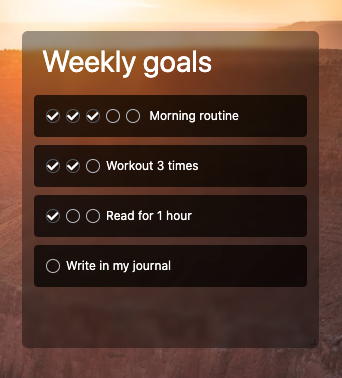 Weekly To-Do Widget to create good habits